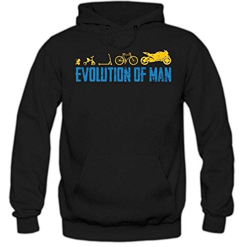 Shirt Happenz Evoluzione del Motociclo Hoody | Uomo| Motorsport | Motocross | Moto Kawasaki | Harley | Felpa con Cappuccio, Farbe:Schwarz (Black F421);Taglia:X-Large