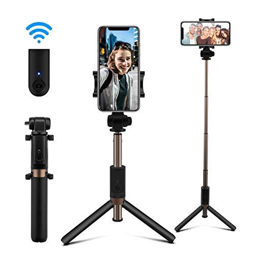 AFAITH Bastone Selfie Bluetooth Estensibile Selfie Stick Treppiede con Telecomando Ricaricabile per iPhone XS Max/XS/XR/X / 8 Plus / 8/7/7 Plus / 6S