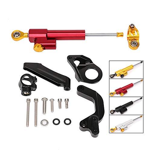 QQJK Für Suzuki GSXR1000, Motorrad Lenkungsdämpfer Einstellbare Steuerhalterung Montage CNC Aluminiumlegierung Kit,Red