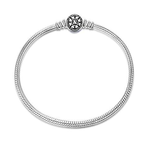 NinaQueen Schwarz Charm Armband-Damen 925 Sterling Silver für Pandora Charms