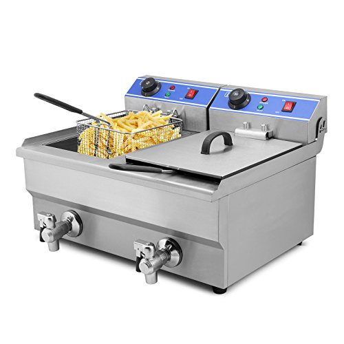 Moracle Professional elektrische Fritteuse 6000W Fritteuse 20L Pommes Frites Friteuse mit Doppelbrunnen und Timer