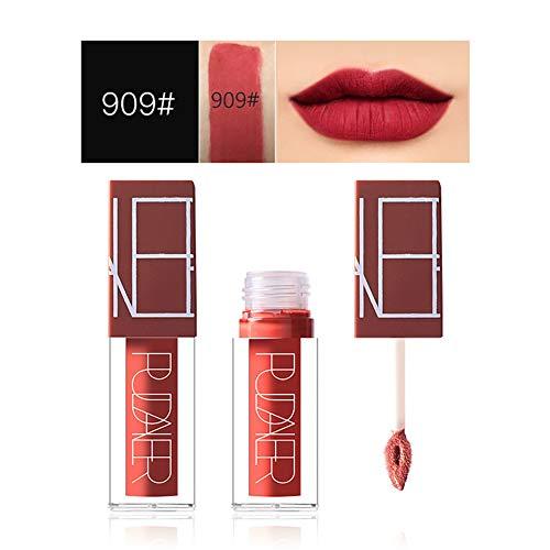 Sehr Sexy Lip Palette (1PC Farben Matte Lippenstift SetWasserdichte Langlebige Matte Flüssigkeit Lipgloss Tint Flüssiger Lippenstift Lip Wasserdicht Glanz Sexy Lippe Make-up für Frauen Mädchen (909 geräucherte Rose))