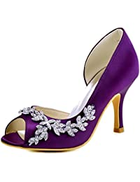 ElegantPark EL-005 Women Satin D'Orsay Peep Toe Wedding Bridal Court Shoes