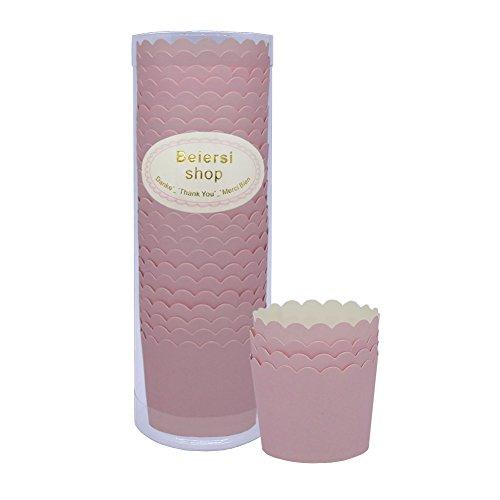 Beiersi 24Pcs Papierkuchen Liner Tasse Cupcake Muffin Backen (Rosa) Cup Form