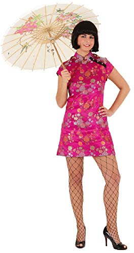 narrenkiste O9274-36-A pink Damen China Girl Chinesin Chinesen Kostüm Kleid kurz ()