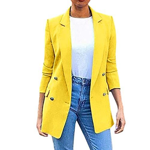 Nyuiuo Mantel Damen in Multi Farbe Damen Blazer Brown Damen Langer Blazer mit Vier Knöpfen Solide Umlegekragen Jacke Solide Umlegekragen Jacke Langarm Mantel Parka Oberbekleidung -