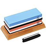Knife Sharpening Stone Set, Premium Whetstone Sharpener Kit, 4 Side Grit 400/1000, 3000/8000