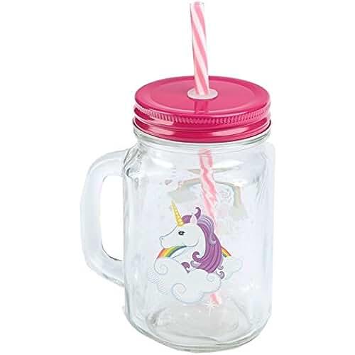 unicornios kawaii Puckator Enchanted Rainbow - Jarra Unicornio Tapa y Pajita, Rosa