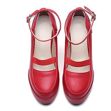Talloni delle donne Primavera Estate Autunno Inverno Dress Club Scarpe PU ufficio & carriera Party & Sera tacco grosso con fibbia Nero Rosso Bianco Red