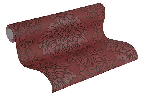 Livingwalls 368983 Metropolitan Stories Lizzy London Tapete mit Ornamenten barock Vliestapete metallic rot Schwarz 10, 05 M x 0, 53 M