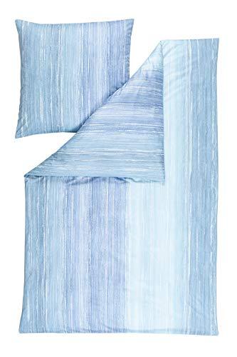 Estella Mako-Interlock-Jersey Bettwäsche Kilian Aqua 1 Bettbezug 135x200 cm + 1 Kissenbezug 80x80 cm