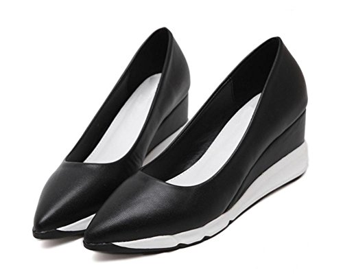 La signora Primavera scarpe a punta scarpe ascensore pendio spesso della crosta della focaccina con scarpe col tacco alto scarpe da single Black