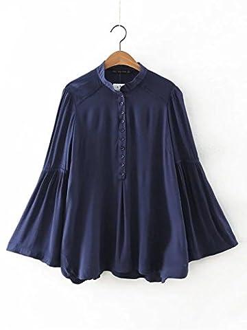 WJS-ClothingClothingLong sleeved shirts summer fashion all-match chest single row mouth trumpet sleeve shirt dress,Navy,M