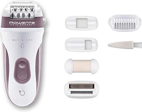 Rowenta Skin Respect EP8060F0 - Sin cable y utilizable bajo el agua, 24 pinzas con cabezal exfoliante y rasurador, accesorio para axilas, cabezal de recorte con cepillo limpiador y neceser