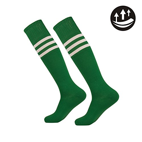 Damen Fußball Unisex Knie High Triple Soccer Uni Athletic Team 2–12 Paar, 2Pairs-dark green and White Striped (Hockey-mädchen-kostüm)