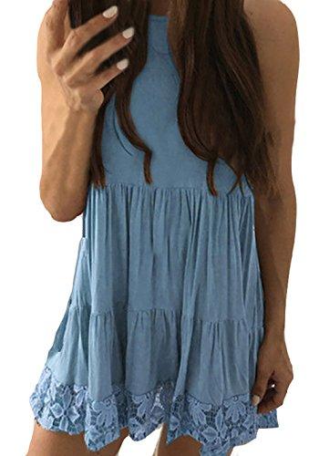 Freizeitkleider Damen Kleider Damen Kurz Elegant Ärmel Schulterfrei Neckholder Sommer Strandkleid Blusenkleider Hellblau