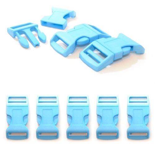 '5 pièces 1 fermeture à clic/Fermoir à clip à douille XL (No) en plastique pour bracelets paracord, cordons etc., 65 mm x 32 mm, couleur : bleu clair – Ganzoo