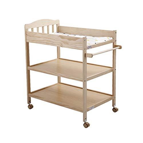 Zcf tavolo per pannolini per bambini fasciatoi for pannolini, rotelle in legno massello con serratura cassettiera fasciatoio fasciatoio multifunzionale fasciatoio 0-3 anni (color : style1)