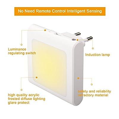 2 Stück LED Nachtlicht Steckdose mit Dämmerungssensor, Helligkeit Stufenlos Einstellbar Energiesparend Baby Licht Automatisch Orientierungslicht für Kinderzimmer Schlafzimmer Flur Treppe, Warmweiß