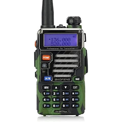 Baofeng UV-5R Plus - Radio walkie talkie VHF/UHF 136-174/400, 520 MHz, colore mimetico - B-52 Altoparlanti