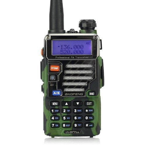 Baofeng UV-5R Plus - Radio walkie talkie VHF/UHF 136-174/400, 520 MHz, colore mimetico