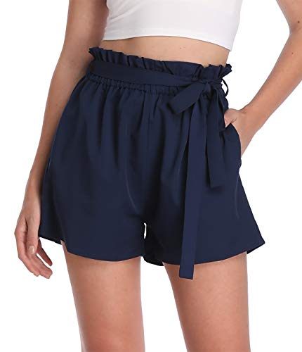 MISS MOLY Kurze Hose Damen Sommer Shorts Hohe Taille mit Bindergürtel High Waist Leicht Navyblau Small