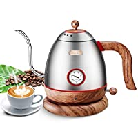 Electric Pour Over Water Kettle Boiler with Thermometer, Stainless Steel Gooseneck Coffee Boiler Heater,Hand Drip Teapot,Wood Grain,0.8L Perfect Gift
