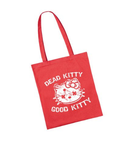 - Dead Kitty Good Kitty - Baumwolltasche Rot, langer Henkel