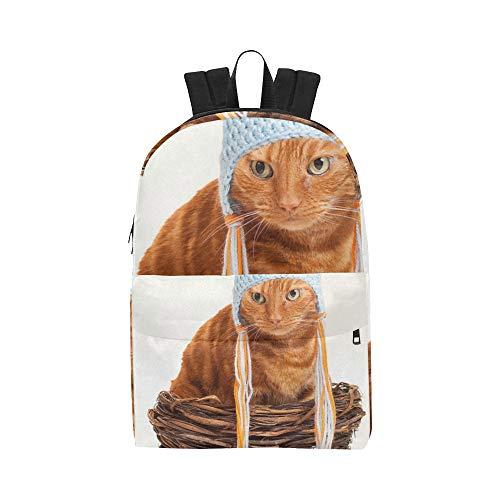 Cat Huhn Kostüm - Stripe Cat Funny Hat Klassische niedliche Wasserdichte Laptop Daypack Taschen School College Kausal Rucksäcke Rucksäcke Bookbag für Kinder, Frauen und Männer Reisen mit Reißverschluss und Innentasche
