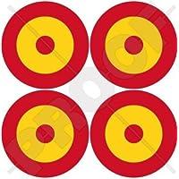 """ESPAÑA Fuerza Aérea Española Avión Medallones 2"""" (50mm) Pegatinas de Vinilo Adhesivos, Stickers, Calcomanias x4"""