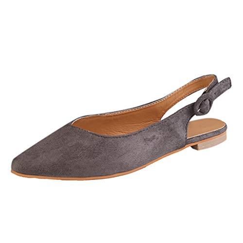 SEHRGUTGE Womens Slingback Court Schuhe, Wildleder wies Toe Schnalle Strap Casual Flats Loafer Schuhe (Lady Of The Court Kostüm)