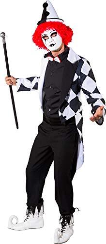 Kostüm Pierrot Herren Für - O7861-56-58 schwarz-weiß Herren Pierrot Frack Clown Kostüm Gr.56-58