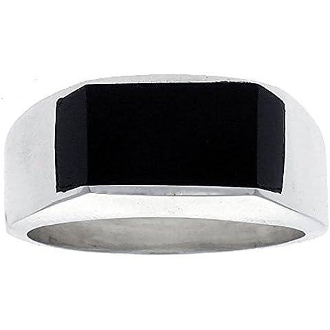 Da uomo, in argento Sterling, forma rettangolare, colore: nero ossidiana-Anello