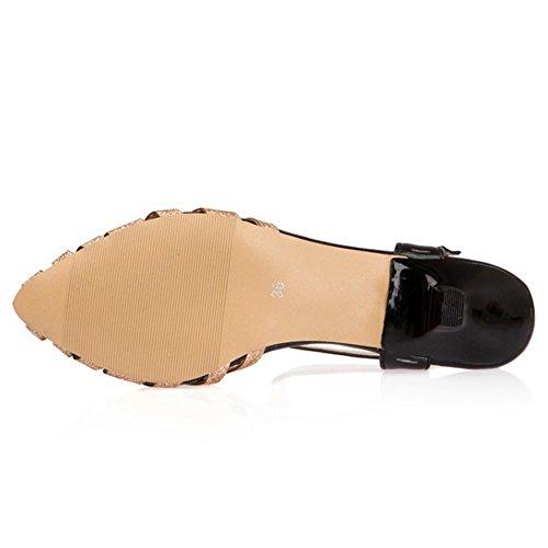 TAOFFEN Femme Classique Kitten Heel Lacets Courroie En T Slingback Sandales Or