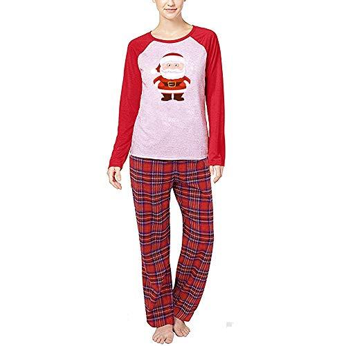 OverDose Damen Weihnachtsmann Tops Bluse Hosen Familie Parenting Pyjamas Nachtwäsche Weihnachten weiche Überraschung Outfits Set Anzug für Winter Herbst(Mama,34 DE/S CN)