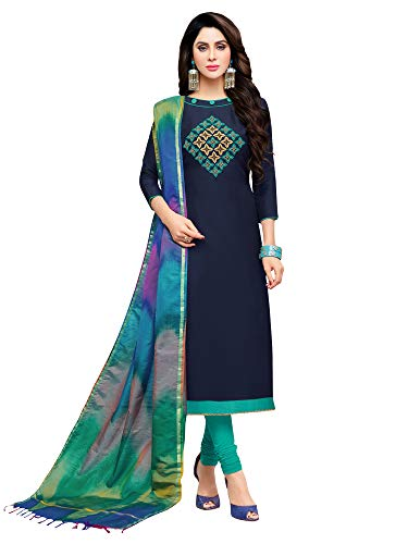 Applecreation Women\'S Cotton Silk Dress material (2RSL6465_Navy BLue_Free Size)