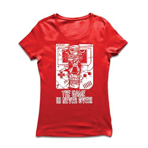 lepni.me Frauen T-Shirt Das Spiel ist nie vorbei - Lustige Videospiel-Geschenkspitze (Small Rot Mehrfarben)
