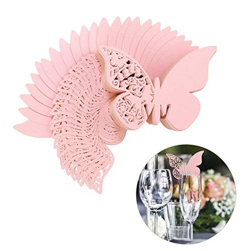 QH-Shop Schmetterling Tischkarten Platzkarte Namenskarte Cup-Karten wandsticker mit Hohl-Muster in Den Flügeln für Hochzeit Geburtstage Taufe Party Tischdeko 100 Stücke Rosa