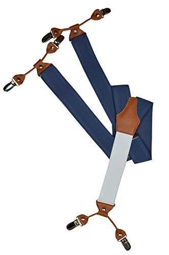 Bretelles Haute Qualite avec 6 Clips/Blanc Arrière et Cuir Beige - 3,5cm. Bleu