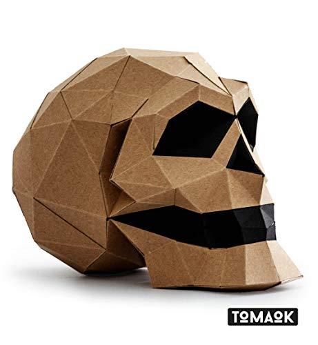 MODERN 3D PUZZLE menschlicher Schädel Kit Papierskulptur umweltfreundliches Kraftpapier 100% recycelt zum Zusammenbauen für die Dekoration DIY PAPERCRAFT Low Poly Montage Papier Skulptur - TOMAOK