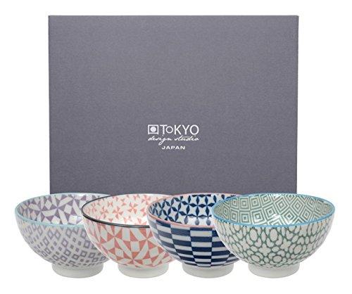 Tokyo Design Studio, Bol en porcelaine motif Geometric Eclectic - Coffret de 4, Diamètre: 12.0cm
