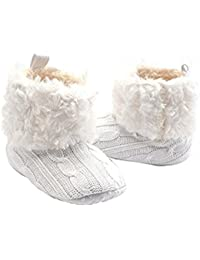 foopp pelo invierno cálido nieve suave Cuna Zapatos Botas de punto para bebé niñas