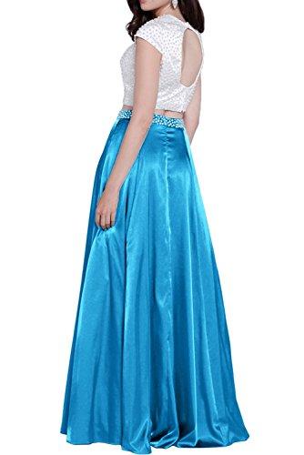 Gorgeous Bride Hochwertig Abendkleider Zweiteilig Satin Paillette A-Linie Abendmode Ballkleider Lang Cocktailkleider Rot