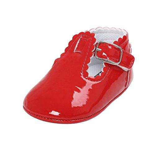 Auxma Baby Mädchen PU Leder Schuhe Sneaker Anti-Rutsch Soft Sole Kleinkind Schuhe für 0-18 Monate (12-18 M, Marine) Rot