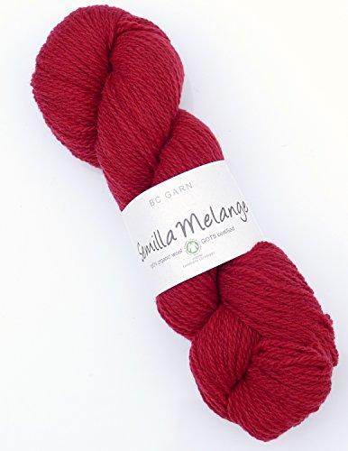 Biowolle BC Garn Semilla Melange Fb. SM25 Rot, 50g Wolle GOTS Zertifiziert, Reine Schurwolle Zum Stricken & Häkeln (Garn Stricken Reine Wolle)