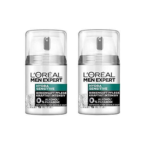 L'Oréal Men Expert Hydra Sensitive Gesichtspflege, mit Birkensaft, empfindliche, trockene und sensible Männerhaut beugt schuppiger Haut vor (2 x 50 ml) - Nicht Fettende Formel