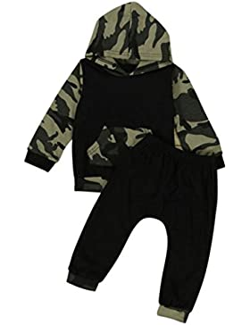 Bekleidung Longra Tarnung Baby jungen Kleinkind Kapuzen Camouflage-T-shirt Tops + lange Hosen Set Baby Kleidung...