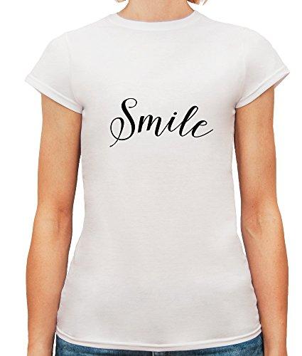 Mesdames T-Shirt avec Smile Slogan Phrase imprimé. Blanc