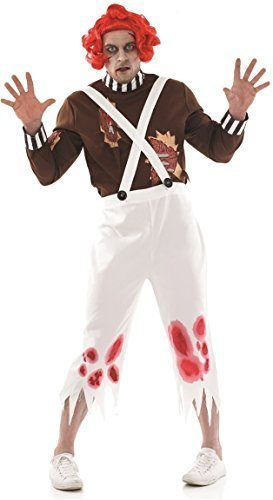 Herren Zombie Toter Oompa Loompa mit Perücke Halloween Gruslige Kostüm Kleid Outfit M-XL - Multi, Multi, (Mit Loompa Kostüm Oompa Kostüm Perücke)