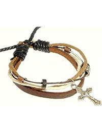 De metal pulsera de cruz / pulsera de cuero / piel pulsera crucificado